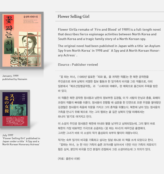 lower  Selling Girl (a remake of 'Blood and Fire', 1989) is a full-length novel that describes fierce espionage activities between North and South Korea and a tragic family story of a North Korean spy. The original novel 'Blood and Fire' was translated/published in Japan under a title 'A Spy and an Actress' and 'An Asylum Spy from North Korea' in 1997 and 1998, respectively.  (source: publisher's review)
